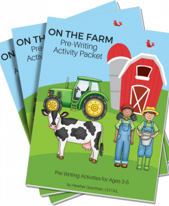 On the farm pre-writing activity packet for preschoolers.