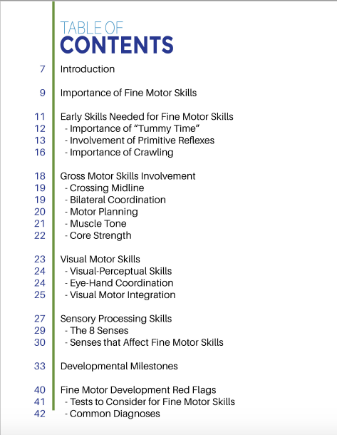 Basics of Fine Motor Skills Table of Contents
