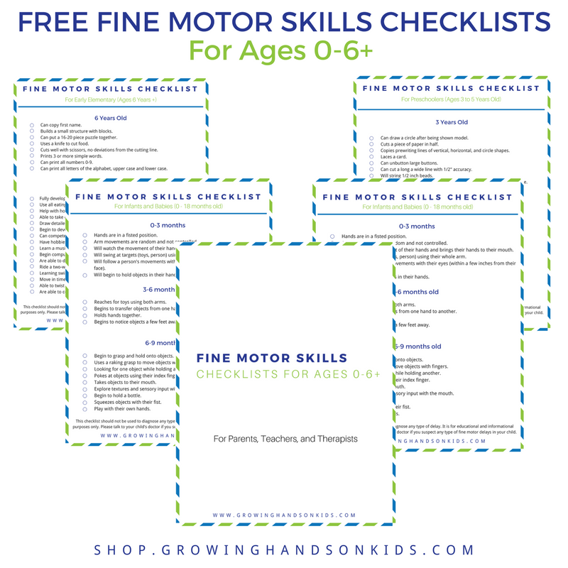 Fine motor skills checklist for ages 0-6+