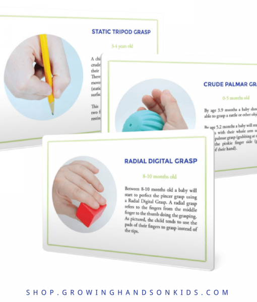 Typical Hand Grasp Development for Fine Motor Skills - Printable Reference Cards.