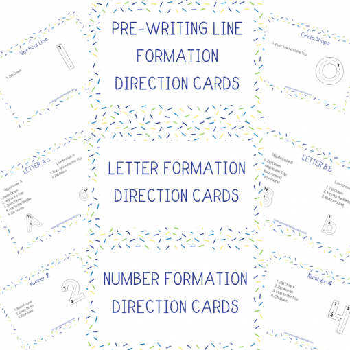 Pre-Writing, Letter, and Number Formation Direction Cards