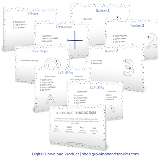 Pre-Writing Line, Number, and Letter Formation Direction Cards. Digital download product.