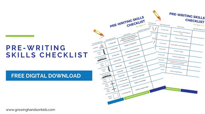 Pre-Writing Skills Checklist for Kids, free printable download.