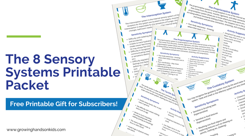 The 8 sensory systems free printable downloads.