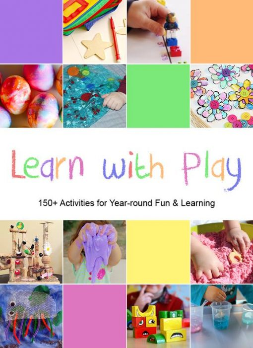 Children playing with various hands-on activities. Learn with Play - 150+ Activities for Year-round Fun and learning.