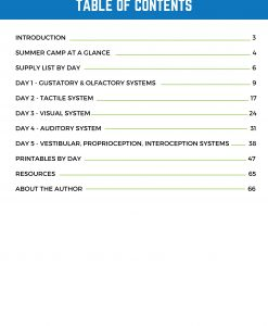 Table of contents graphic for My 8 Senses Summer Day Camp